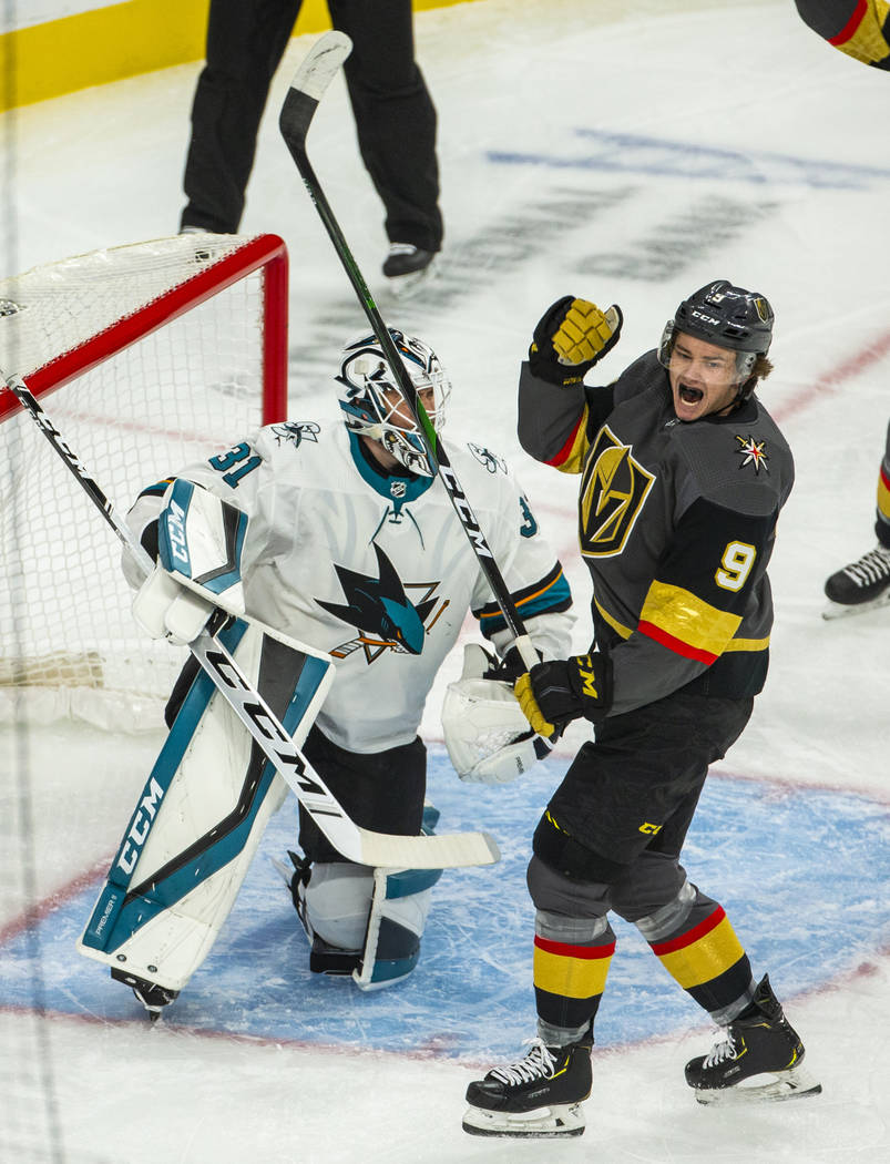 Vegas Golden Knights center Cody Glass (9) celebrates after a goal by Mark Stone during the fir ...