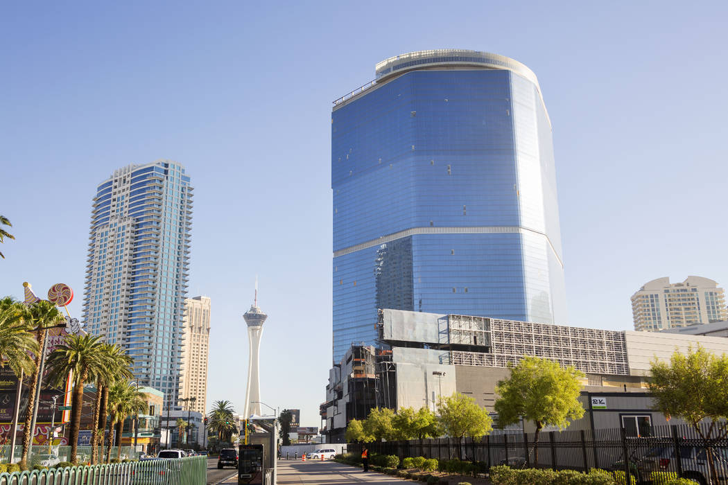 The unfinished Drew Las Vegas resort and casino on the Strip in Las Vegas on Thursday, Oct. 3, ...