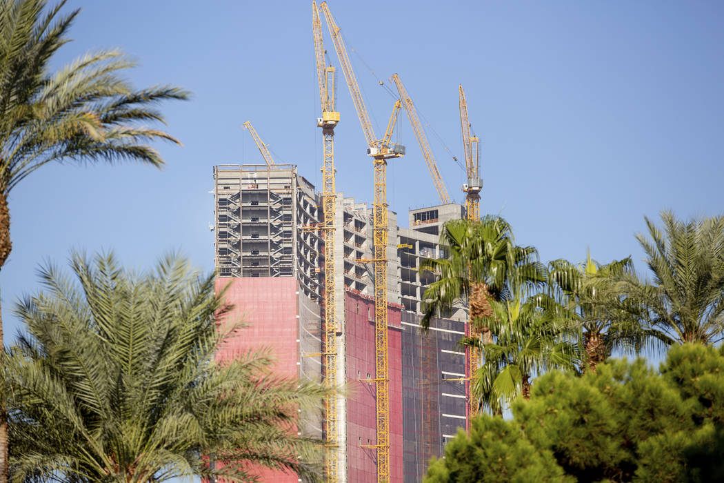 Construction continues on Resorts World Las Vegas on the Strip in Las Vegas on Thursday, Oct. 3 ...