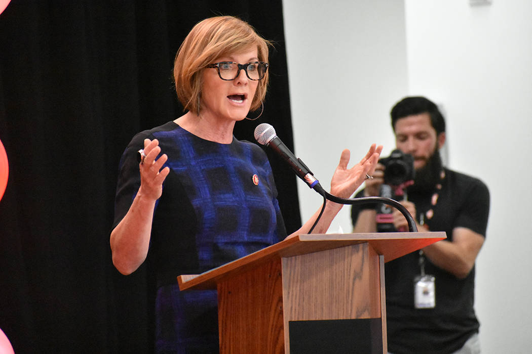 Congresswoman Susie Lee, D-Nev., at the opening Shirley A. Barber Elementary School, April 24, ...