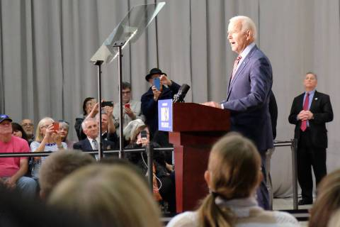 Joe Biden addresses supporters Wednesday at Truckee Meadows Community College in Reno. It was t ...