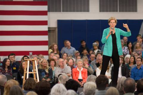 Democratic presidential hopeful Elizabeth Warren speaks to a crowd in Carson City on Wednesday. ...