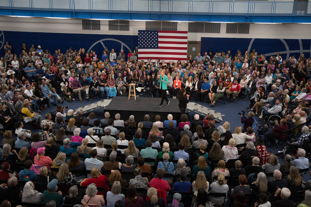 A crowd fills the Multi-Purpose Athletic Center in Carson City, where Democratic presidential h ...