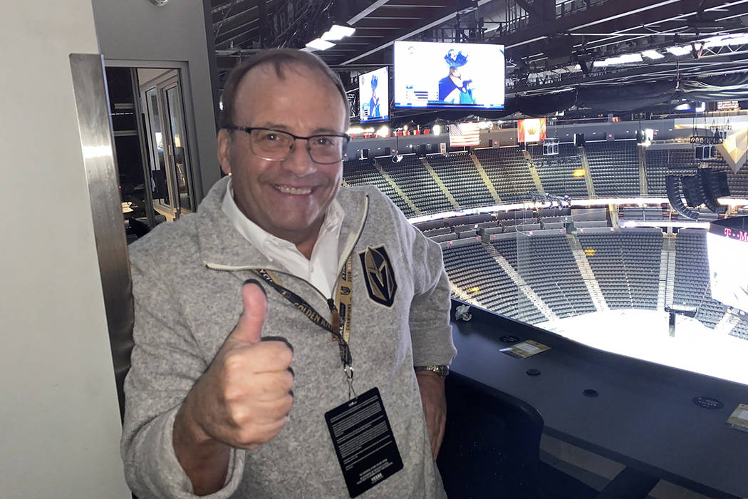Vegas Golden Knights PA announcer Bruce Cusick, shown at T-Mobile Arena on Wednesday, Oct. 2, 2 ...