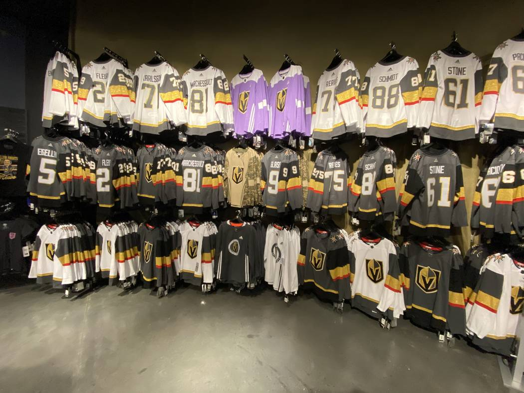 A wide assortment of Vegas Golden Knights attire is shown at The Armory at T-Mobile Arena on We ...