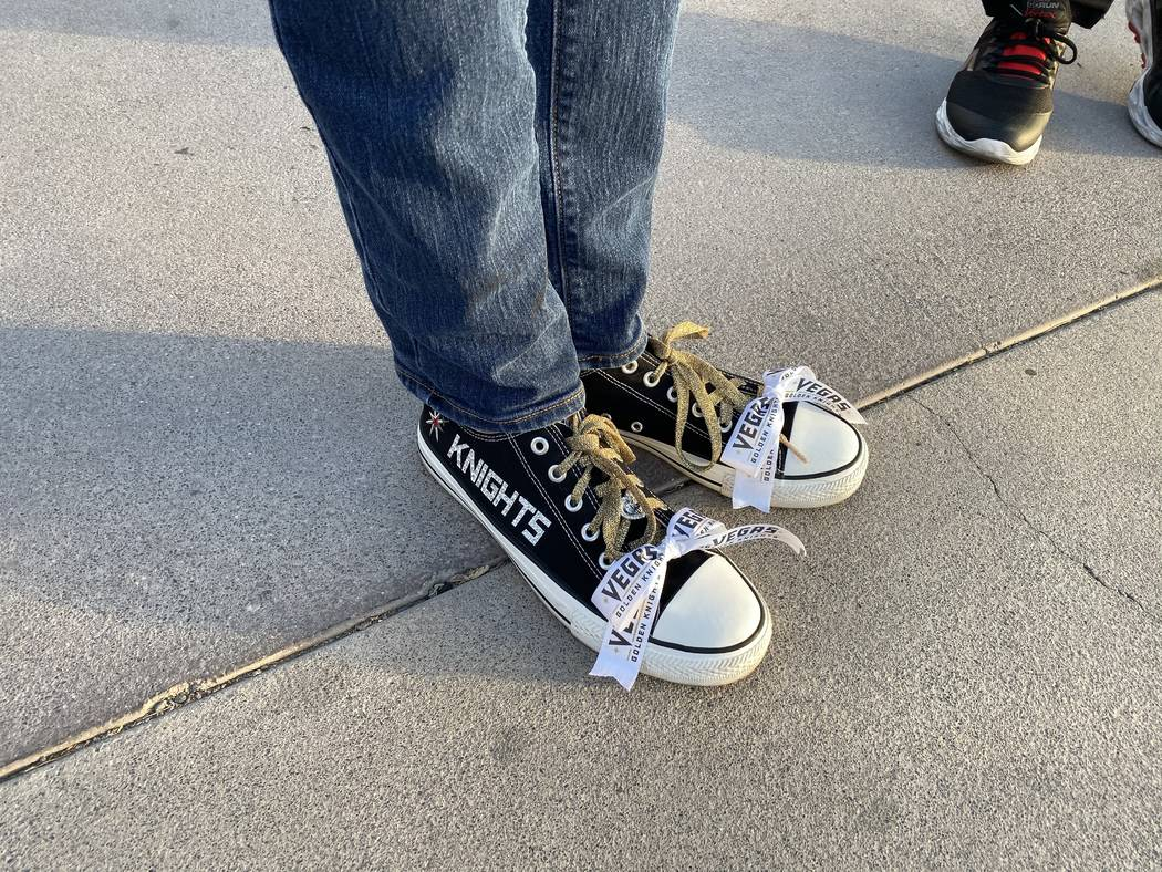 Vegas Golden Knight sneakers are shown at Toshiba Square outside T-Mobile Arena on Wednesday, O ...