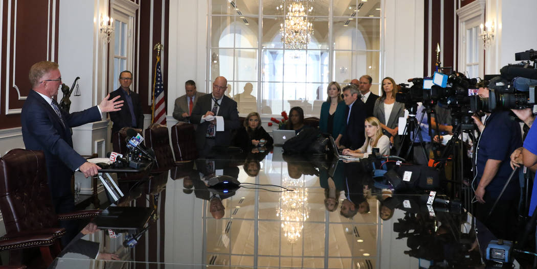 Attorney Robert Eglet, left, who represents several Oct. 1 victims, speaks about MGM's settleme ...