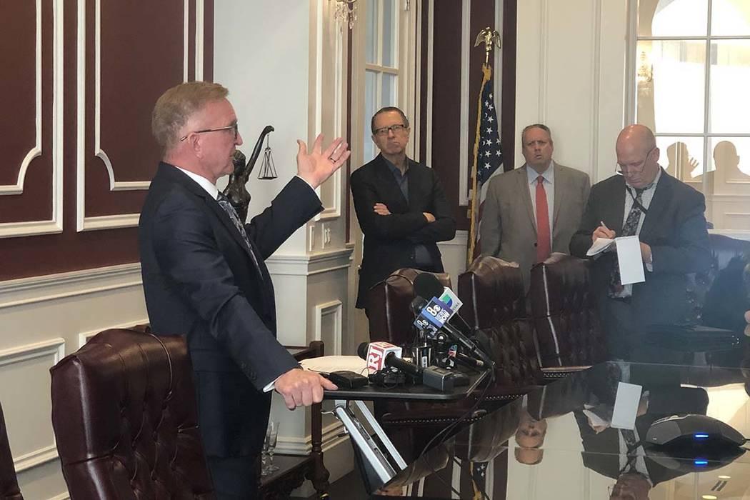 Attorney Robert Eglet speaks on Thursday, Oct. 3, 2019, about a tentative settlement between MG ...