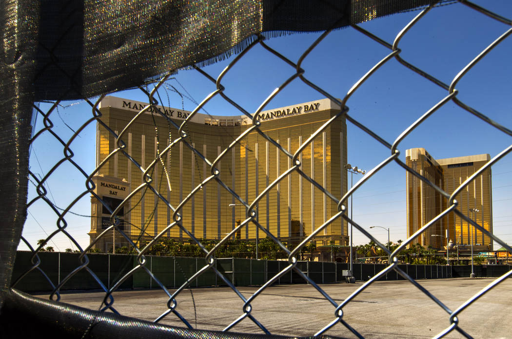 The still-empty Route 91 Harvest festival grounds across the street from the Mandalay Bay nearl ...
