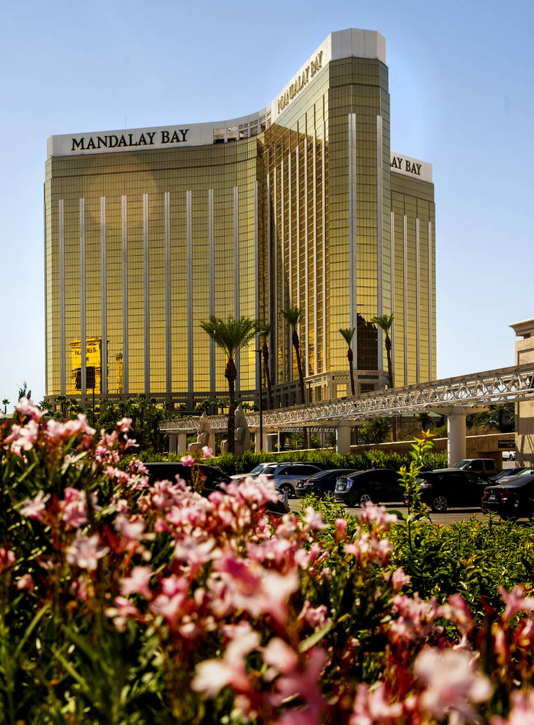 The Mandalay Bay nearly two years after a mass shooting occurred from there on Saturday, Sept. ...