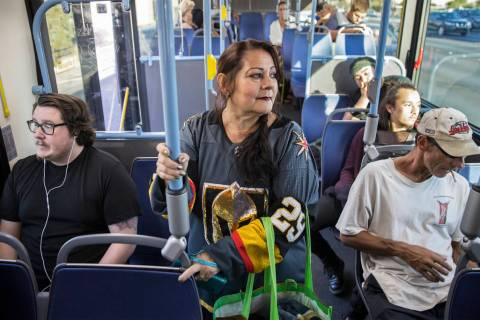 Elena Leger rides an RTC bus to Toshiba Plaza to watch the Vegas Golden Knights season opener a ...