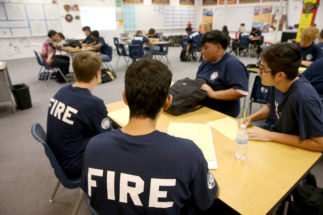 Bonanza High School Fire Science Academy students in class at the Las Vegas school Friday, Sept ...