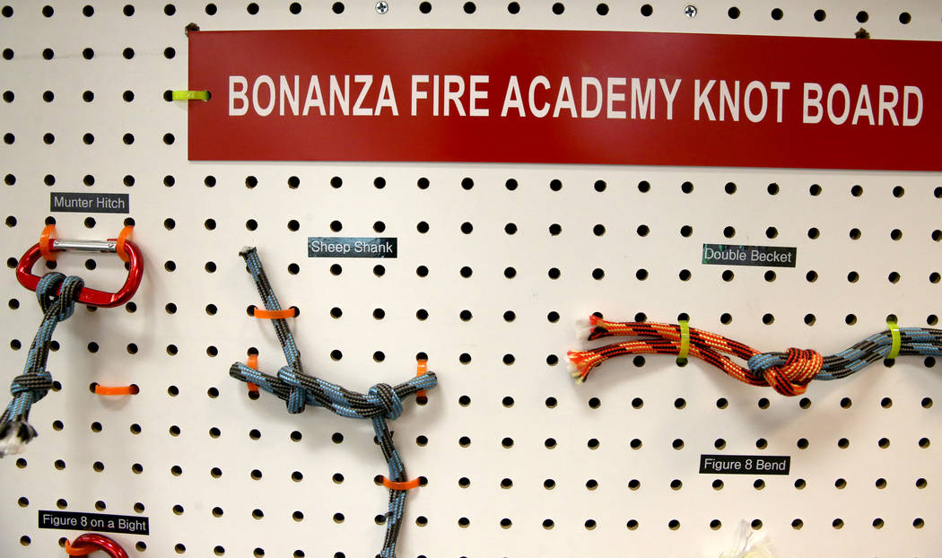 Knots at the Bonanza High School Fire Science Academy classroom Friday, Sept. 27, 2019. The Las ...