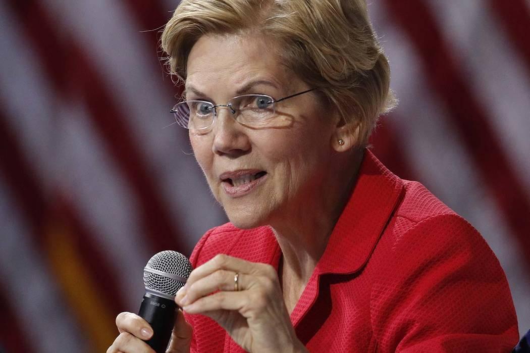Democratic presidential candidate Sen. Elizabeth Warren, D-Mass., speaks during a gun safety fo ...
