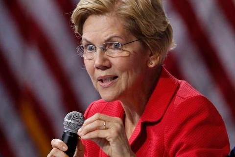 Democratic presidential candidate Sen. Elizabeth Warren, D-Mass., speaks during a gun safety fo ...