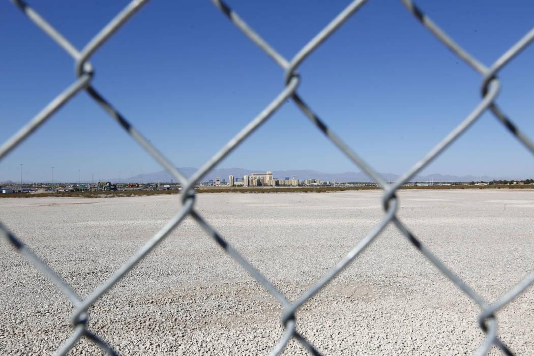 A land that recently sold is seen near the Starr Avenue-Interstate 15 interchange in Las Vegas, ...