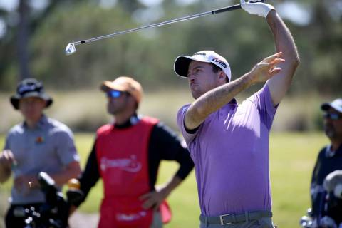 Nick Taylor watches his shot on the eighth tee during Shriners Hospitals for Children Open at T ...