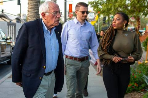 Democratic presidential candidate Sen. Bernie Sanders arrives for a visit the to the Las Vegas ...