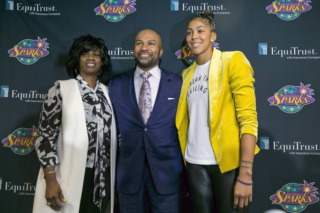 Los Angeles Sparks executive vice president and general manager Penny Toler, left, newly named ...