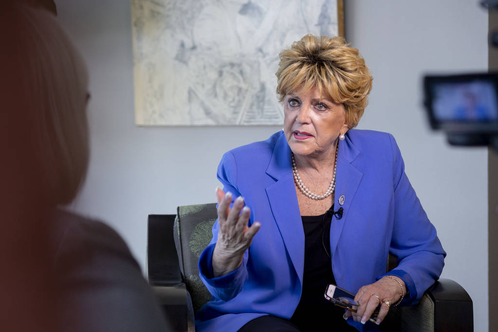 Mayor Carolyn Goodman discusses her recent and past cancer journey with a reporter at Las Vegas ...