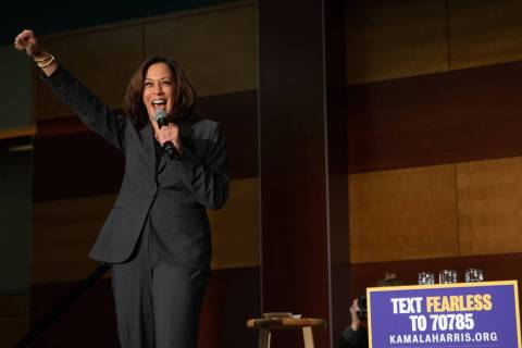 Democratic presidential candidate and California Sen. Kamala Harris speaks during a campaign st ...