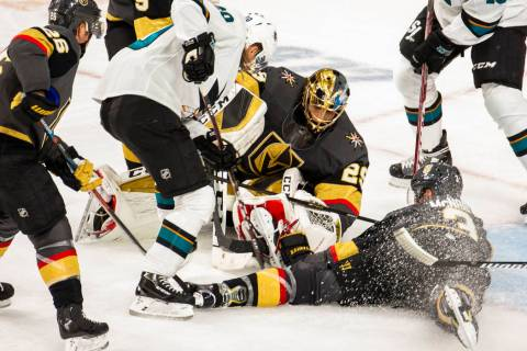 Vegas Golden Knights goaltender Marc-Andre Fleury (29) makes another stop in traffic versus the ...
