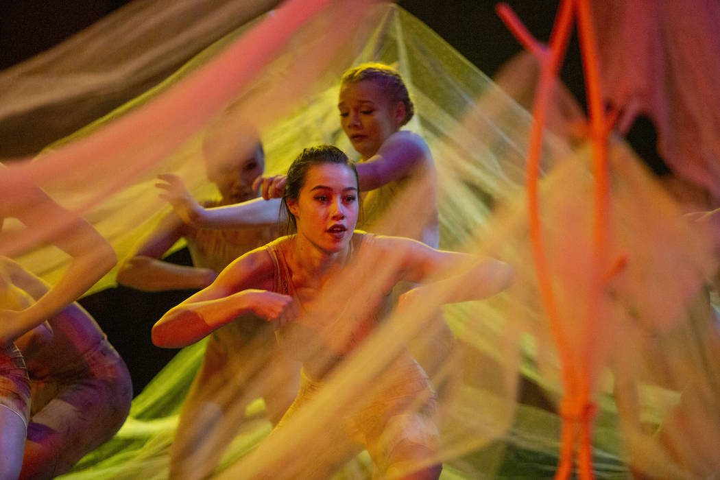 Dancers with Cirque du Soleil and the Nevada Ballet Theatre perform a routine while rehearsing ...