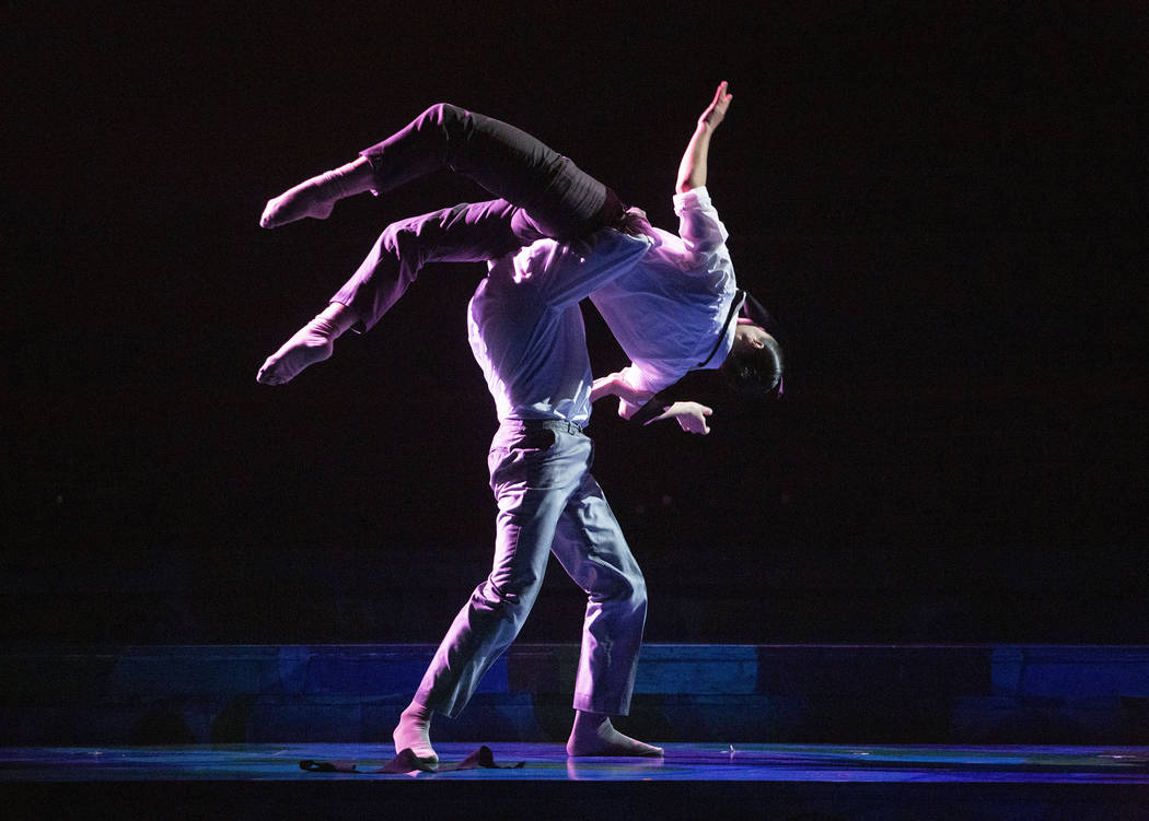 Anthony Cardona from Cirque du Soleil, lifts Rachel Thomson from Nevada Ballet Theatre while pr ...