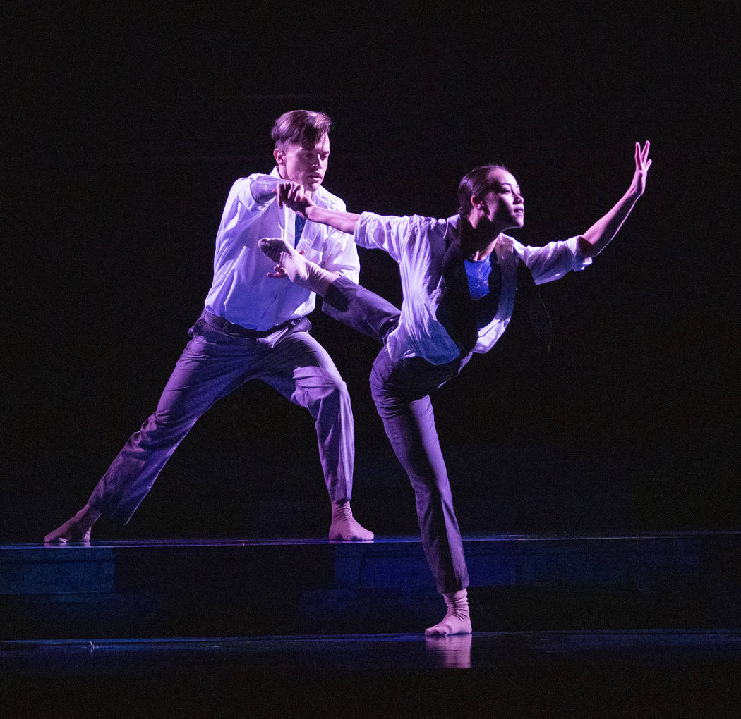 Anthony Cardona from Cirque du Soleil, left, and Rachel Thomson from Nevada Ballet Theatre, pra ...