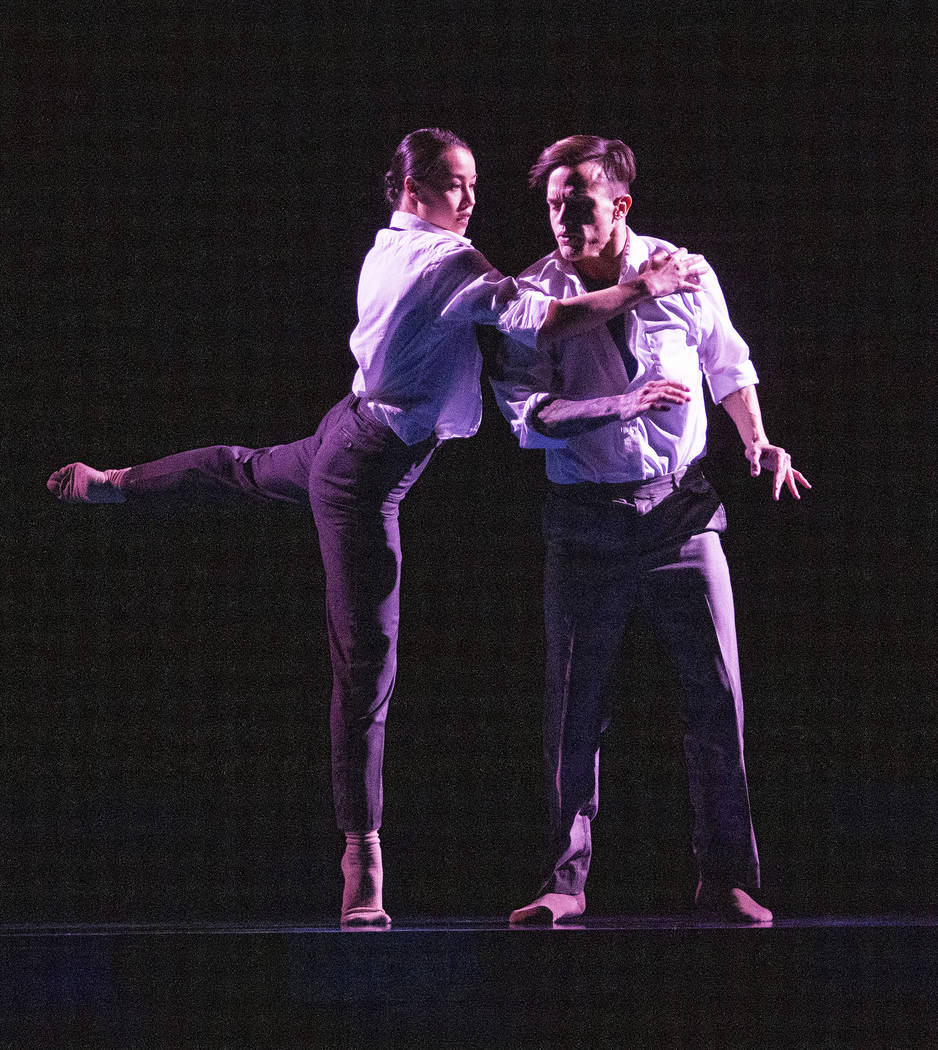 Rachel Thomson from Nevada Ballet Theatre, left, and Anthony Cardona from Cirque du Soleil, pra ...