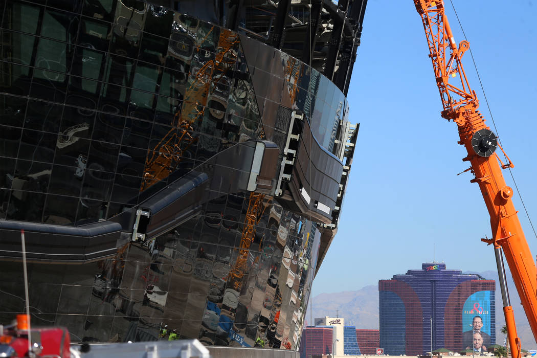 The Raiders Allegiant Stadium construction site in Las Vegas, Thursday, Oct. 3, 2019. (Erik Ver ...