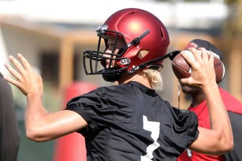 UNLV backup quarterback Kenyon Oblad (7) prepares to throw the ball during team practice on Fri ...