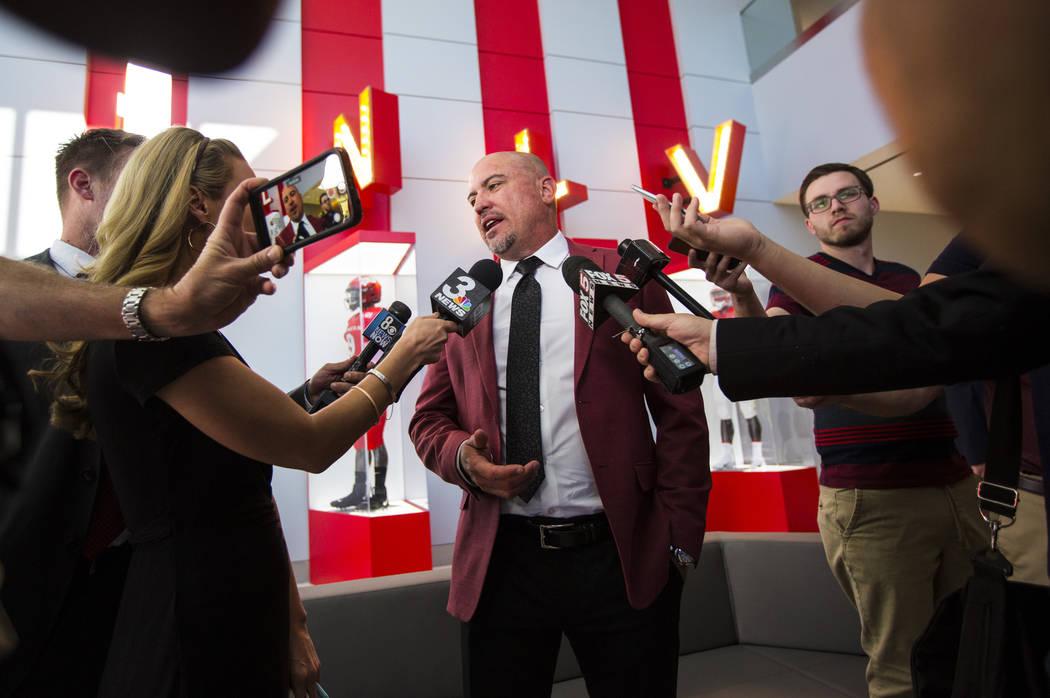 UNLV football coach Tony Sanchez talks about the Fertitta Football Complex at UNLV in Las Vegas ...