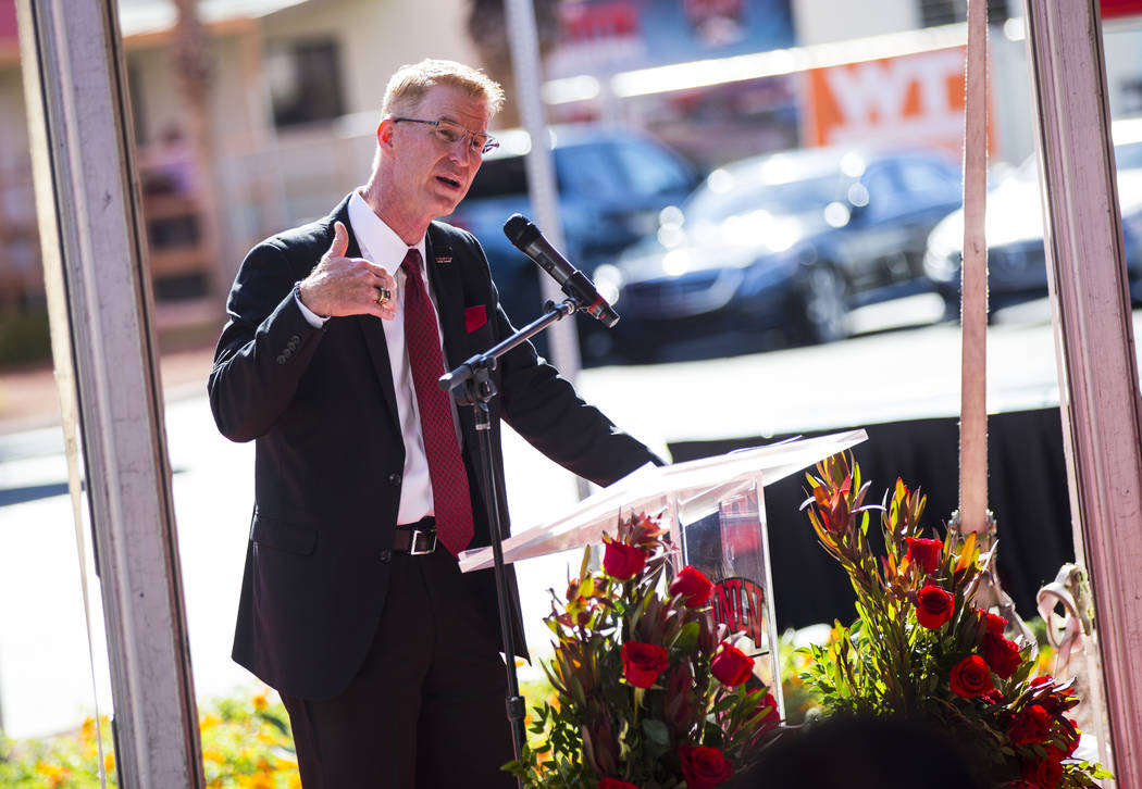Steve Stallworth speaks during a ribbon cutting ceremony for the Fertitta Football Complex at U ...