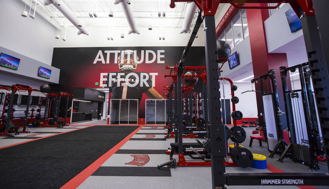 A view of the strength and conditioning room during a tour of the Fertitta Football Complex fol ...
