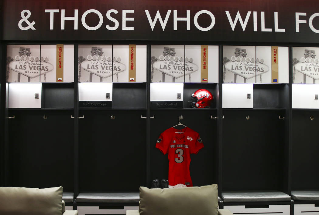 A view of the locker room during a tour of the Fertitta Football Complex following the ribbon c ...