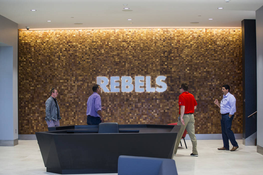 A view of the lobby of the Fertitta Football Complex at UNLV in Las Vegas on Thursday, Oct. 3, ...
