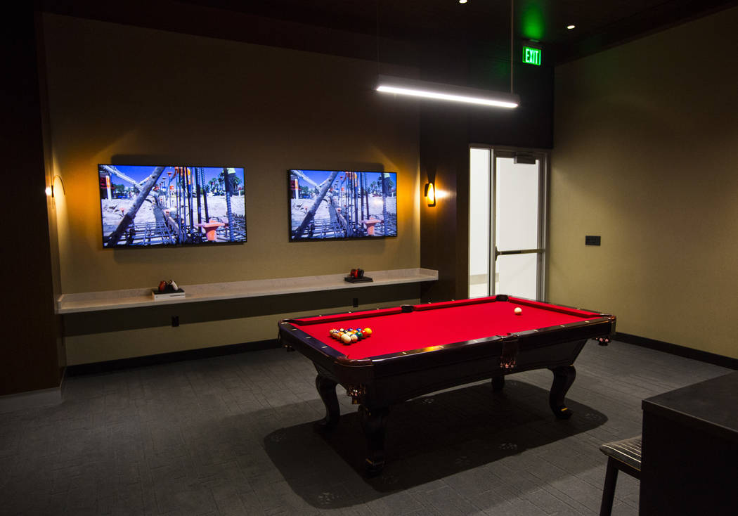 The players club lounge area is seen during a tour of the Fertitta Football Complex following t ...