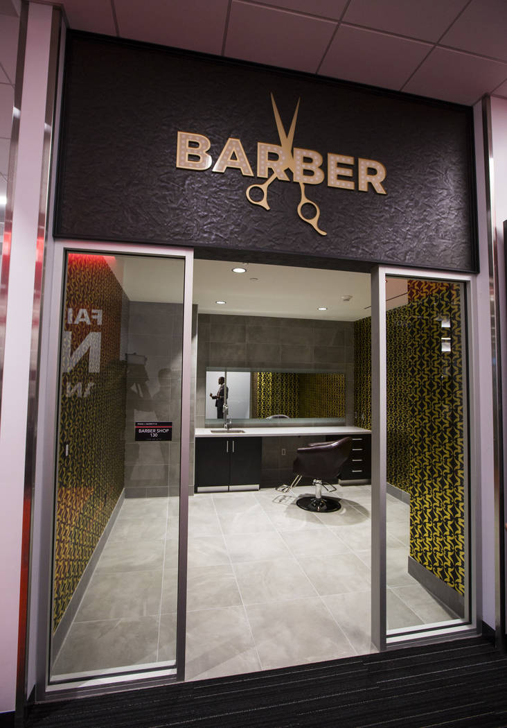 A barbershop area is seen during a tour of the Fertitta Football Complex following the ribbon c ...