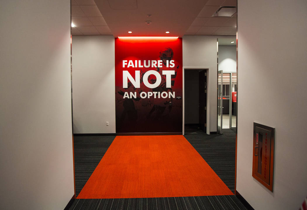 A view of a hallway during a tour of the Fertitta Football Complex following the ribbon cutting ...