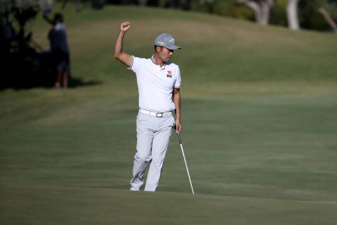 Kevin Na celebrates a birdie on the 18th hole during second round of Shriners Hospitals for Chi ...