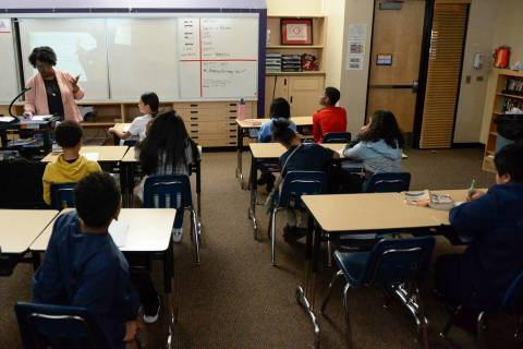 A sixth grade classroom studies math at Democracy Prep in Las Vegas, Tuesday, Jan. 22, 2019. Ca ...