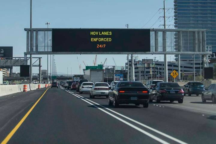 The high occupancy vehicle lane is largely empty on Interstate 15 southbound near the East Flam ...