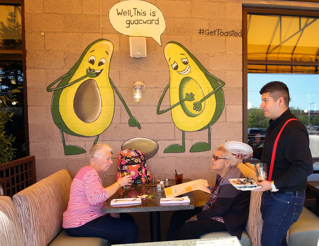 Patrons eat at Toasted Gastrobrunch at 9516 W. Flamingo Road on Thursday, Oct. 3, 2019, in Las ...