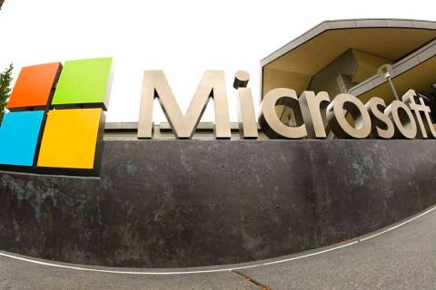 A July 3, 2014, file photo, shows the Microsoft Corp. logo outside the Microsoft Visitor Center ...