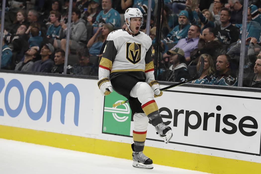 Vegas Golden Knights' Brayden McNabb celebrates his goal against the San Jose Sharks during the ...