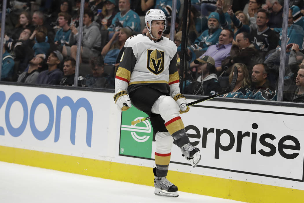 Vegas Golden Knights' Brayden McNabb celebrates his goal against the San Jose Sharks during the ...