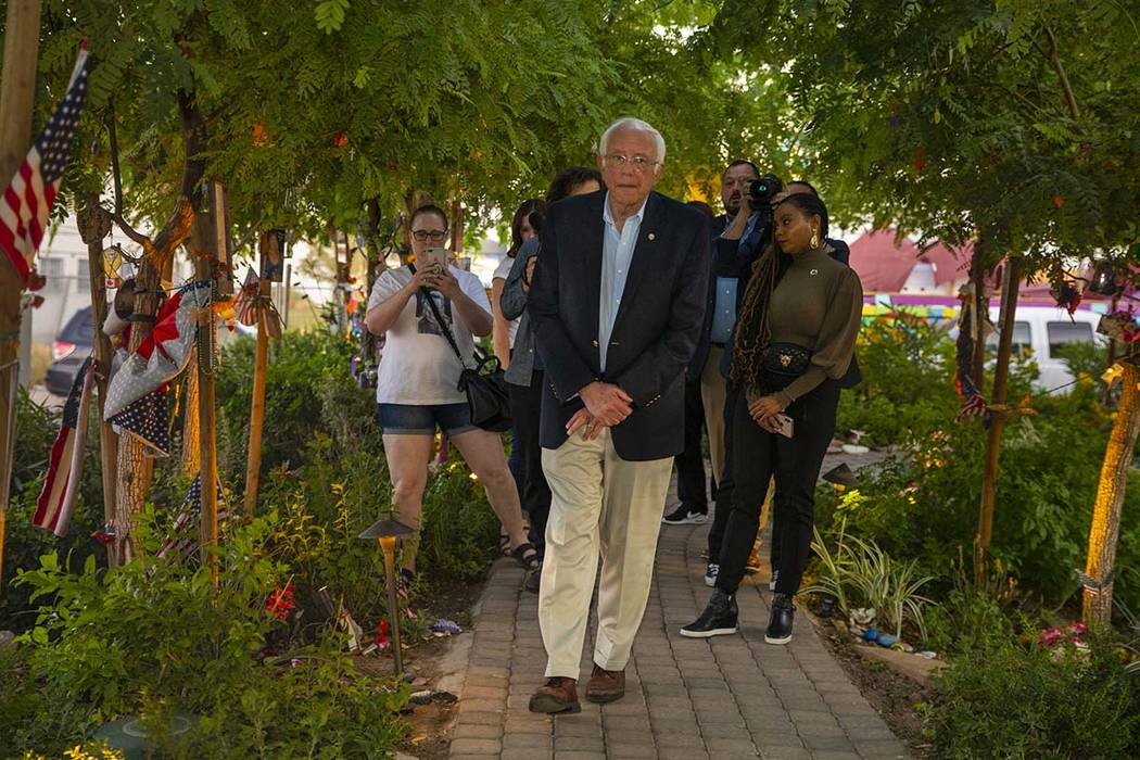 Democratic presidential candidate Sen. Bernie Sanders makes a visit the to the Las Vegas Healin ...