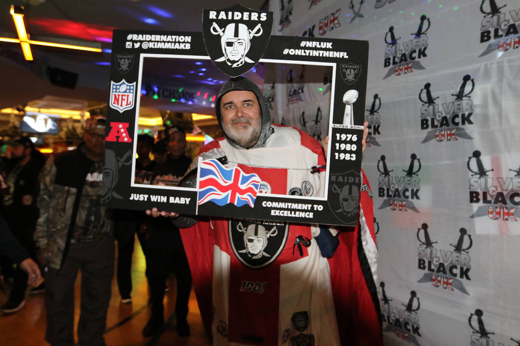 """London-based Raiders' fan Keith Smith, also known as """"Crusader Raider"""" attends at a f ..."""