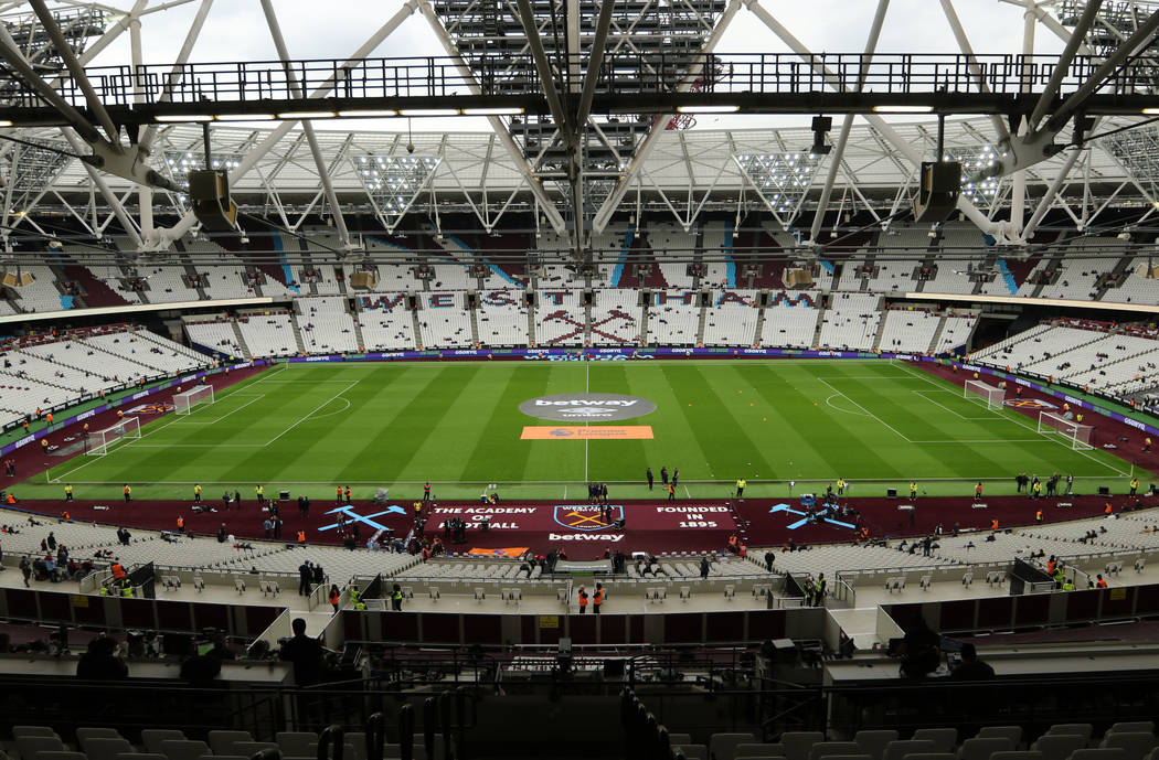 An overview of London Stadium before the start of an English Premier League soccer match betwee ...